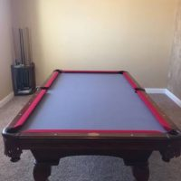 Olhausen Red And Blue Felt Pool Table